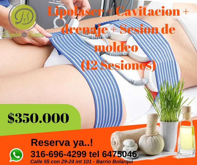 Plan de 12 Visitas que incluyen Lipolaser Cavitacion Drenaje Linfático sesión de moldeo por 350.000