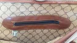 Cartera Tela Rústica, detalles en Cuero, color Marrón
