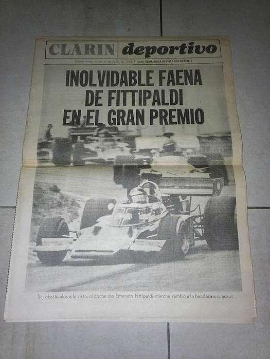 Clarín Deportivo, Fittipaldi gana Gran Premio Argentino.