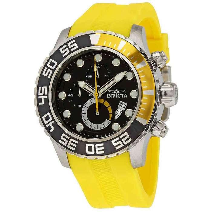 Reloj Hombre Invicta Pro Diver Crono Plateado Amarillo 19244