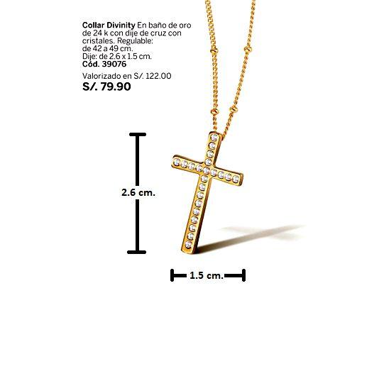1ae85a14daa4 Bello Collar Divinity Mujer Cruz Baño Oro Cristales Esika - Lima