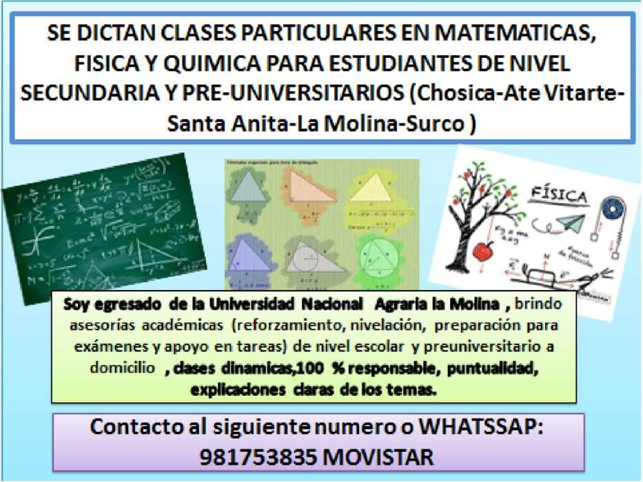 clases particulares de matematicas, fisica y quimica a estudiantes de nivel secundaria y pre universitarios
