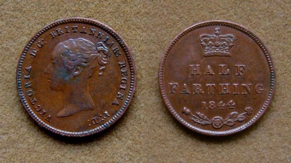 Moneda de 1/2 farthing Gran Bretaña 1844
