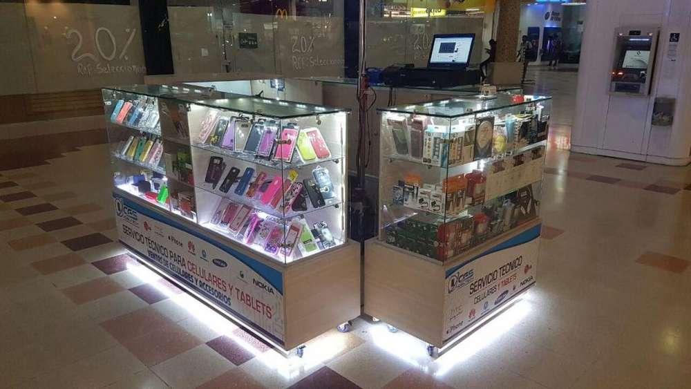Se vende o Intercambia <strong>mobiliario</strong> de Cuatro Módulos 2x2 para isla en centros comerciales