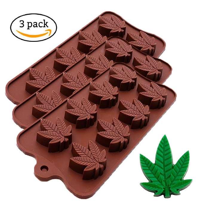 Molde De Silicona Hoja De Marihuana Para Chocolate.