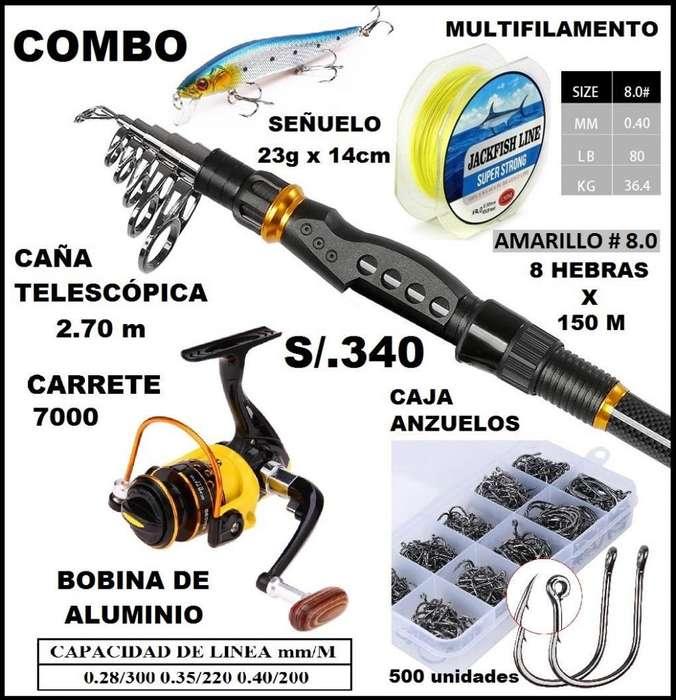 Combo Caña 2.70m Carrete 6000 Multifilamento Anzuelo Señuelo