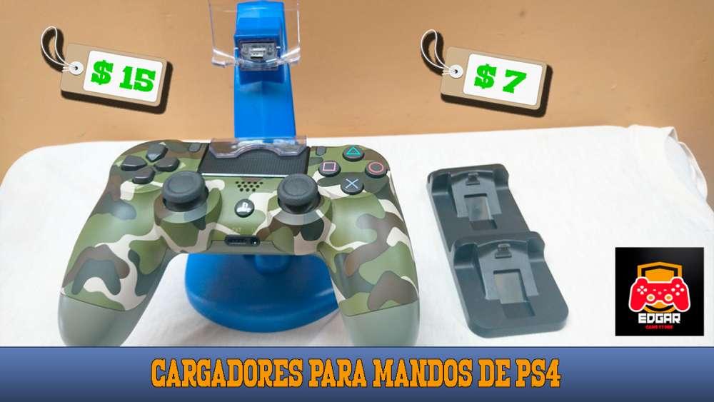 Cargadores para mandos de PS4 pequeño y grande