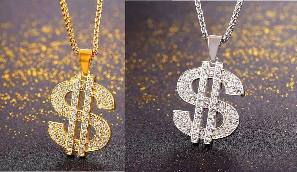 Collar dolar ACERO qUIRURgico 316l Oro 18k
