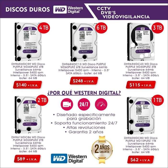 Disco duro western <strong>digital</strong> purpura purple disco duro para dvr hikvision camaras de seguridad cctv hs vigilancia 1tb 2tb