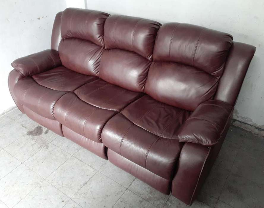 REMATO Sofa reclinable 03 cpos. Ashley en cuero / pu burdeo movil : 981157699