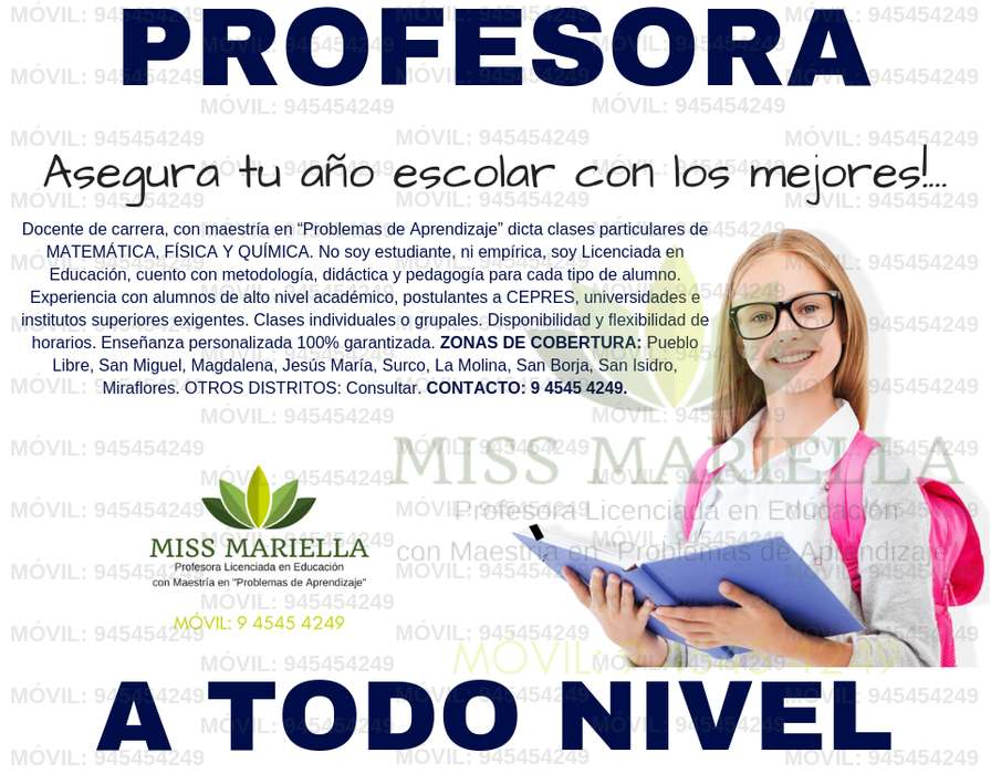A TODO NIVEL PROFESORA LIC. EN EDUCACION BRINDA APOYO PARTICULAR DE MATEMÁTICA. AMPLIA EXPERIENCIA EN CASOS DIFÍCILES.