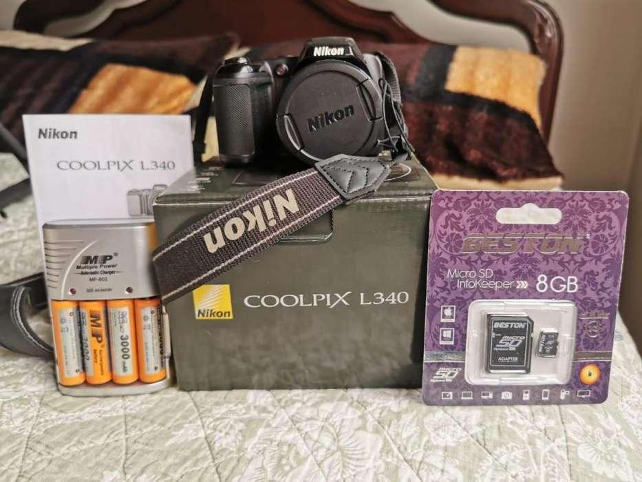 Cámara Nikon L340 Coolpix Semipro 8gb Negracargador Pilas