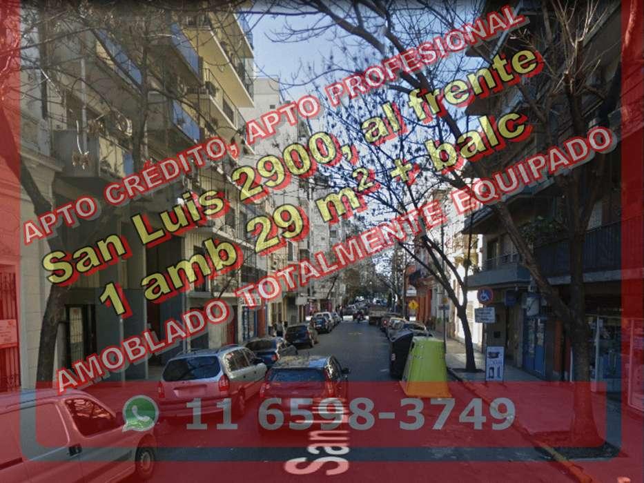 Dto BNorte 1amb 29m2 balc fte amobl San Luis 2900 us80.000