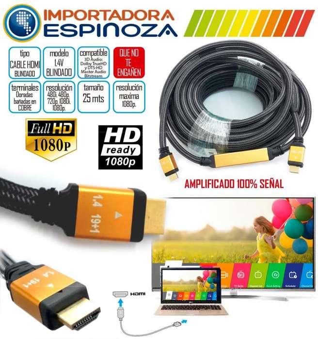Cable Hdmi 25 Metros 1.4 V 3d Amplificado Full Hd Gold