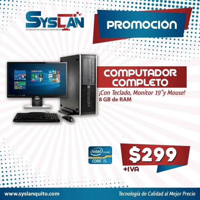 Computadora HP Intel Core I5 3.6 Ghz. 8GB RAM 500GB Monitor 19 GARANTÍA