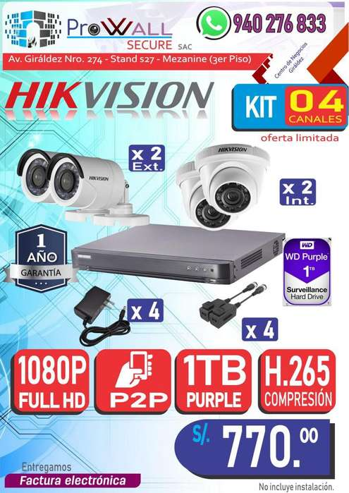 Cámaras de Vigilancia: Kit Full HD 1080 de 4 Canales.