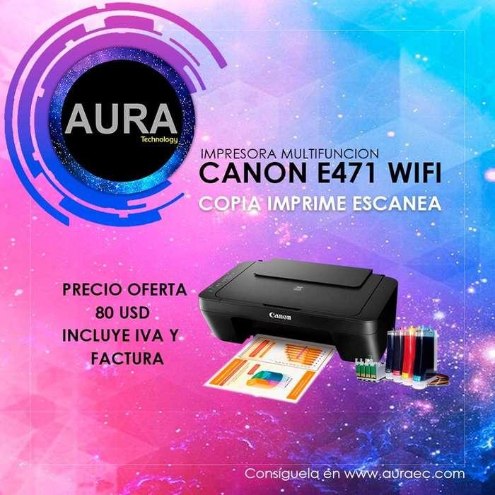 Impresora Multifuncion Canon E471 Sistema de Tinta Adaptado/WIFI