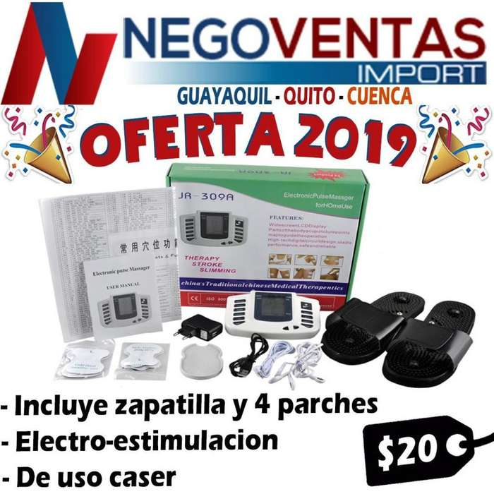 ELECTROESTIMULADOR INCLUYE 4 PARCHES Y PAR DE ZAPATILLAS