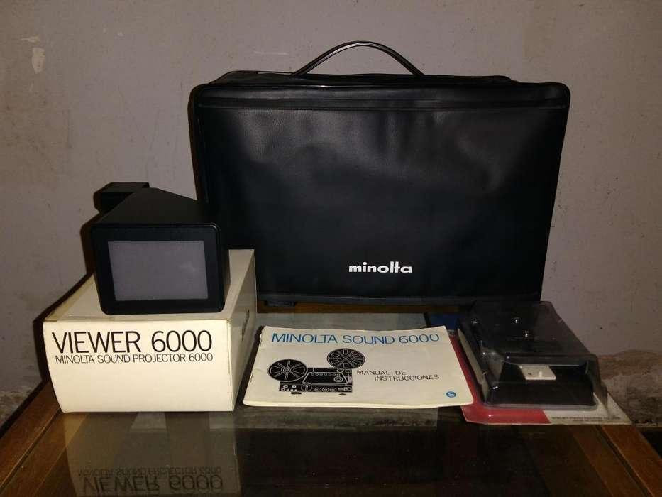 Proyector de películas Super8 y Single8 MINOLTA Sound 6000 con accesorios