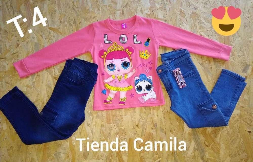 Jeans Cargos de Nenas Nuevos Hermosos.