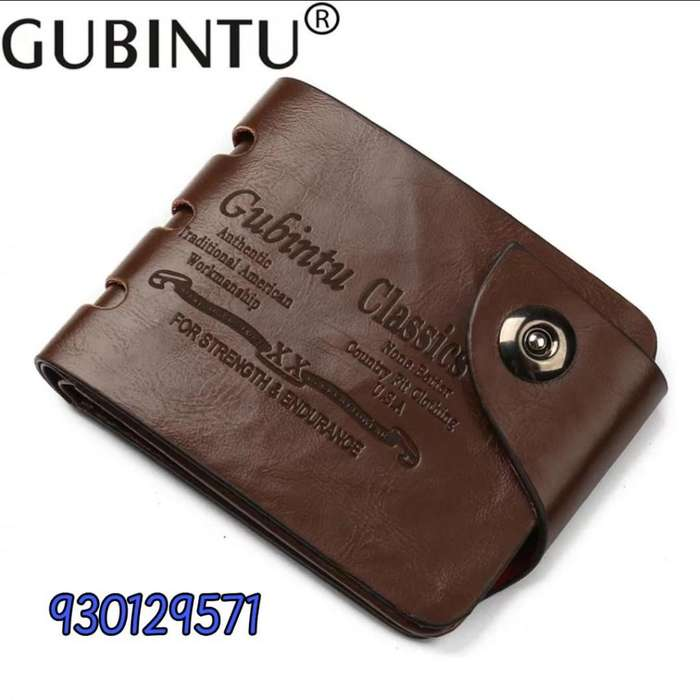 Billetera para hombre color café cuero sintético procesado PU importado marca GUBINTU estilo vaquero