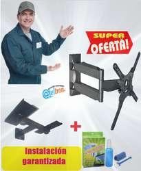 Bases soportes tv led lcd súper oferta exclusiva con repisa dvd kit limpieza pantallas instalado