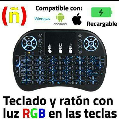 Mini Teclado Inalambrico Touchpad Smartphone/Tablet/Smart Tv/Tv Box/Laptop/Pc/Consola de Videojuegos.