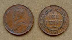 Moneda de 1 penique, Australia bajo Administración Británica 1920