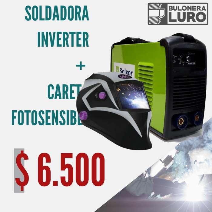 Soldadora Inverter Salkor 200 Amp Ie 6200 Máscara Careta Fotosensible Regalo !!