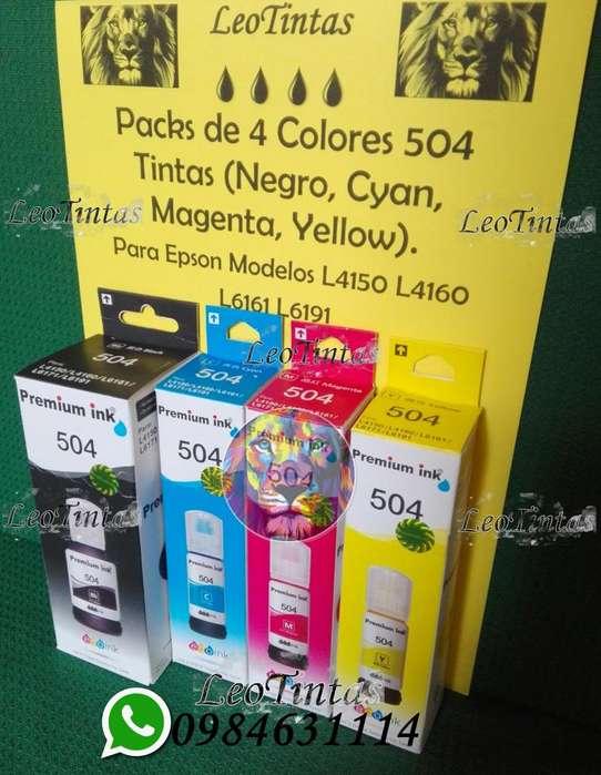 Tintas para <strong>impresoras</strong> Epson 504 modelos L4150 L4160 Packs de 4 Colores
