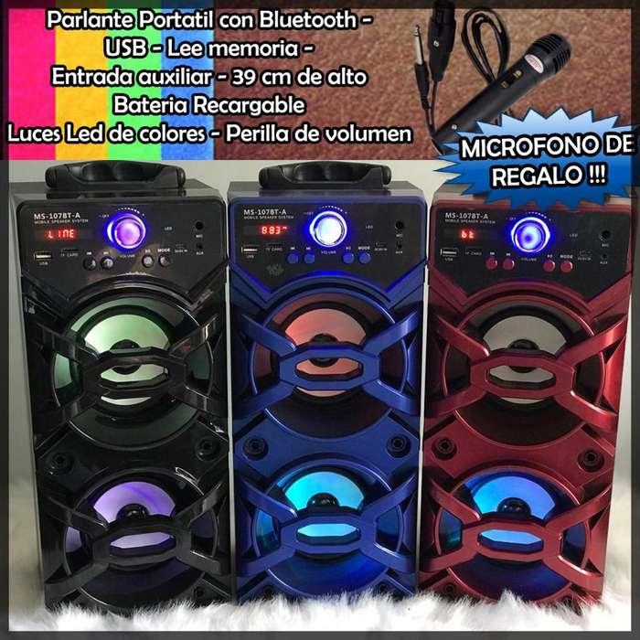 Parlantes con Microfono de regalo Bluetooth, Radio FM, USB SD AUX Portatil <strong>karaoke</strong>