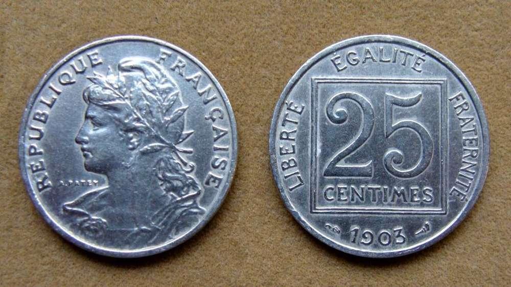 Moneda de 25 céntimos Francia 1903