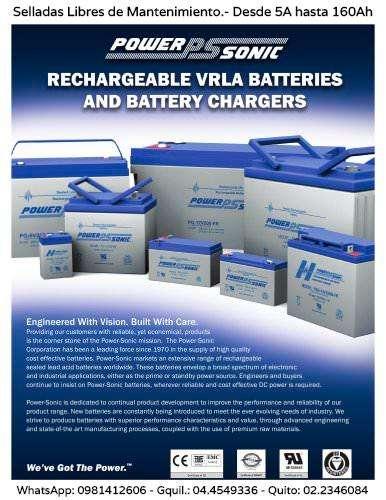 Baterías Selladas Libres de Mantenimiento. WhatsApp 0981412606