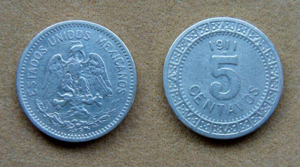 Moneda de 5 centavos México 1911