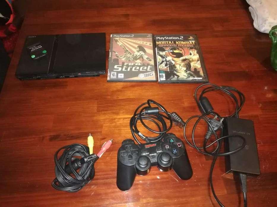Playstation 2 Chipeada Con Juegos Y Joystick Hooligans