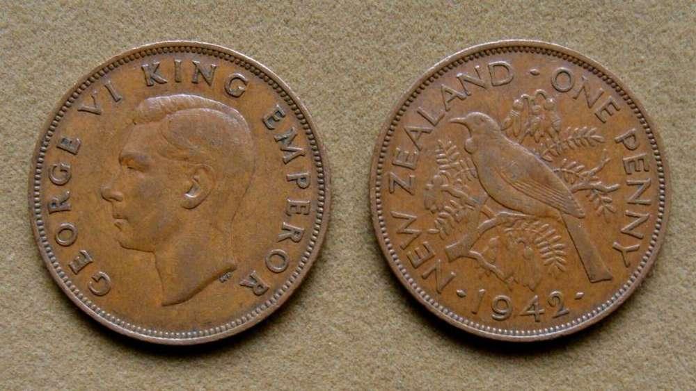 Moneda de 1 penique Nueva Zelanda 1942