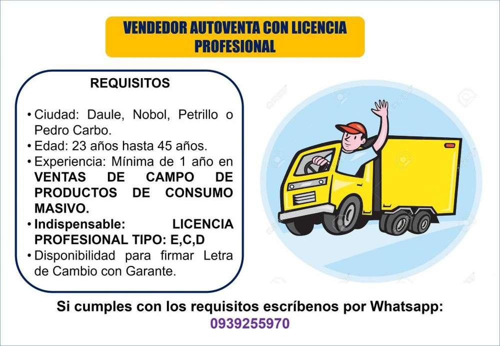 AGENTE DE VENTAS CON LICENCIA TIPO E,C,D
