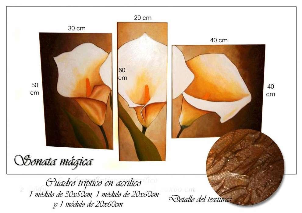 Cuadros sobre lienzo artesanales pintados a mano tripticos florales decorativos y texturados Calas exclusivos