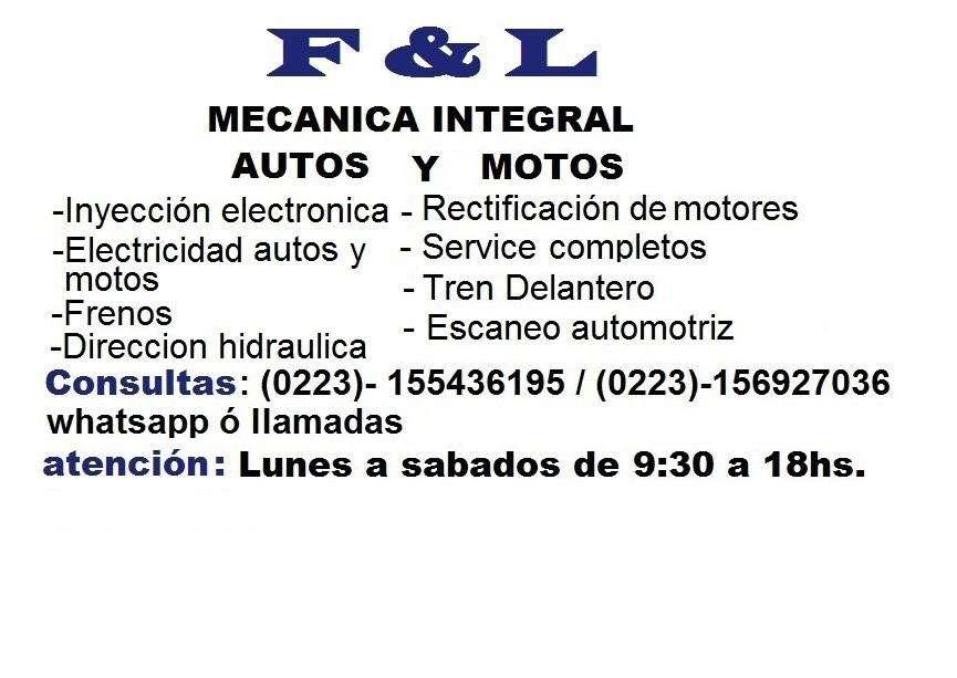 TALLER F&L MECANICA INTEGRAL AUTOS Y MOTOS PAGINA OFICIAL: FACEBOOK: Taller F & L Mecanica Integral De Autos Y Motos