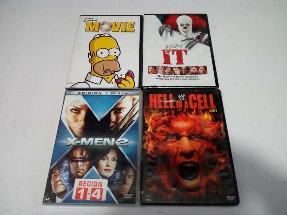 peliculas dvd, originales, los simpsons, it, hell in cell wwe, x men 2, nuevas selladas.
