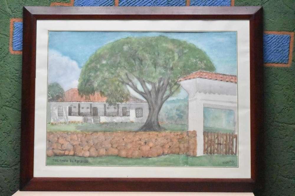 Cuadro De La Hacienda El Paraíso En Acuarela
