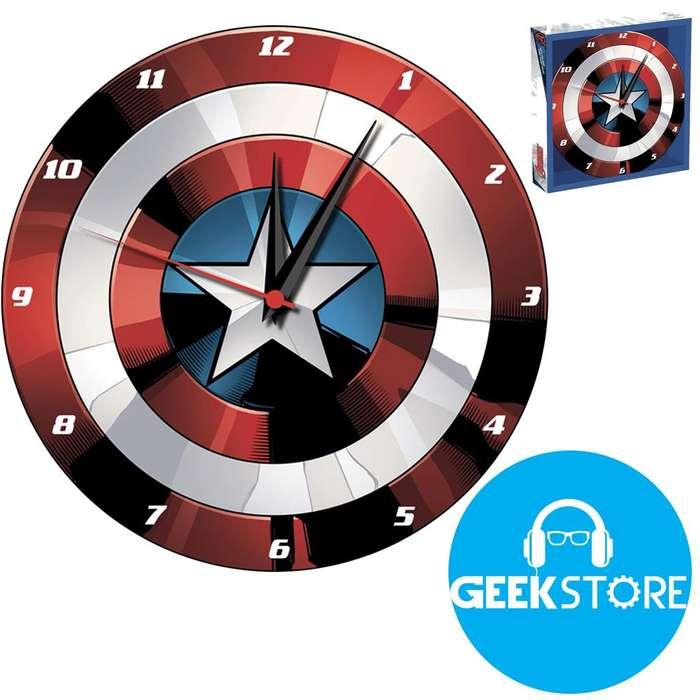Reloj Escudo Capitán América ORIGINAL Marvel Avengers Pared Grande NO FALSO