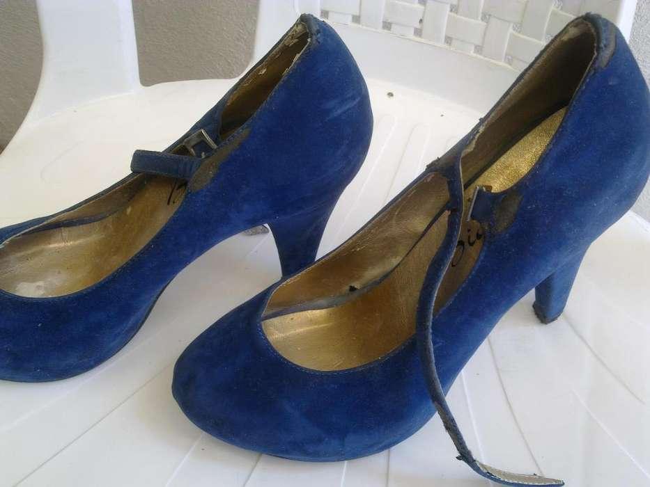 ¡Tacones color azul talla 35 zapatos para dama de segunda!