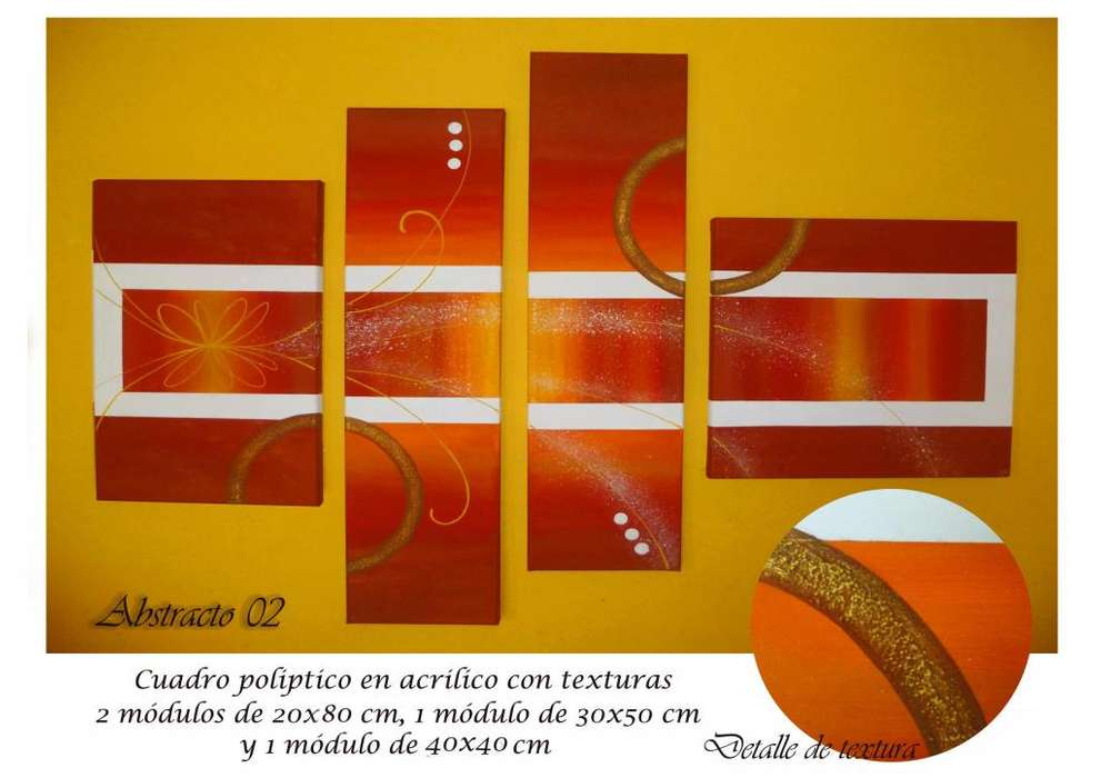 Cuadros sobre lienzo pintados a mano tripticos polipticos modernos abstractos decorativos minimalistas texturados
