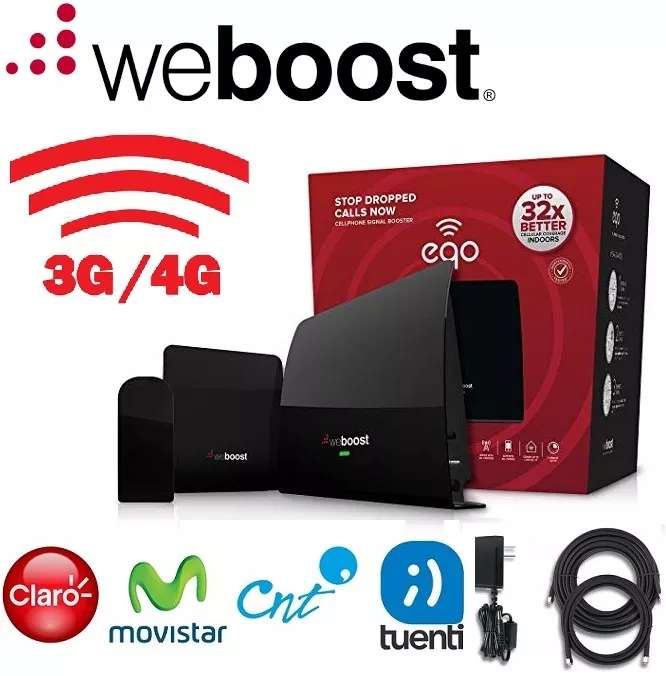 AMPLIFICADOR RED CELULAR WEBOOST EQO 5 BANDAS 700/2100MHz 4G 3G 70dB MAS ANT. OUT. MAS ANT. IND. MAS CABLES 6 Y 25 PIES
