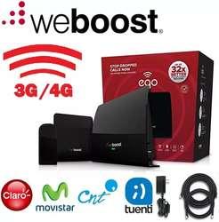 AMPLIFICADOR RED CELULAR WEBOOST EQO 5 BANDAS 700/2100MHz 4G 3G 70dB MAS ANT. OUT. MAS ANT. IND. MAS CABLES 6 Y 25 PIES