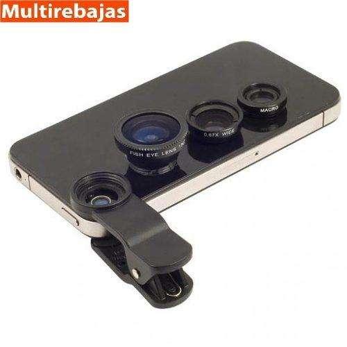 Lente Ojo De Pez 3 En 1 Universal Iphone Monopod Macro Wide multirebajas on line
