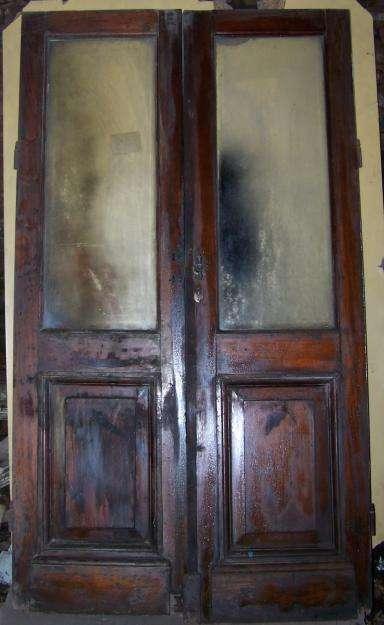 Puerta Dos Hojas Cedro Vidrios Biselados