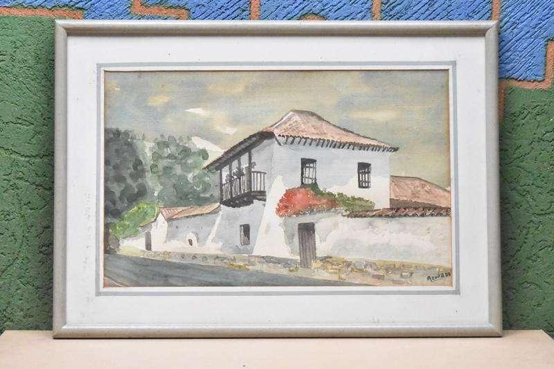 Cuadro De Hacienda Sabana De Bogota En Acuarela