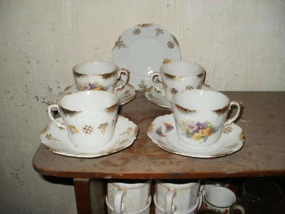 Juego de Te de Porcelana Aleman Silesia 1915 1938. 4 tazas y 5 platitos.